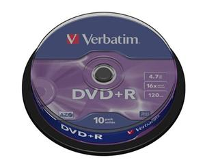 Verbatim DVD+R 4,7GB 16x, AZO, cakebox, 10ks 43498