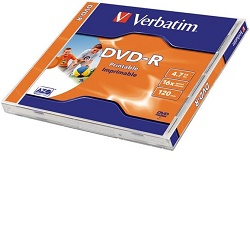 Verbatim DVD-R 4,7GB 16x printable jewel 1ks 43520